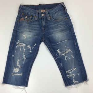 True Religion Cut Off Shorts Destroyed Ripped Blue